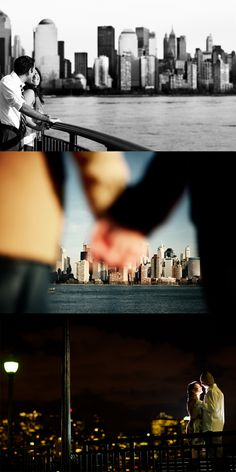Engagement photography with new york city skyline. Photos are taken in waterfront Jersey City with the downtown nyc view.
