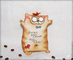 Купить Коты кофейные - коричневый, кот, позитив, позитивный подарок, хорошее настроение, примитив, коты