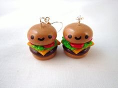 #Kawaii Cheeseburger #Food Polymer Clay Earrings by DoodieBear, #CUTE