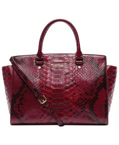 MICHAEL Michael Kors Handbag, Selma Large Top Zip Anaconda Satchel -