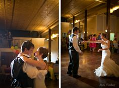 A couple shares a romantic first dance during their wedding reception at Robbins Sanford in Searcy, Arkansas