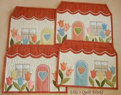 Ulla's Quilt World: Quilted tablemats - houses Happy placemats for easy applique instructions but no templates/patterns Mug Rug Patterns, Applique Patterns, Applique Quilts, Quilt Patterns, Quilted Table Toppers, Quilted Table Runners, Small Quilts, Mini Quilts, Patch Quilt