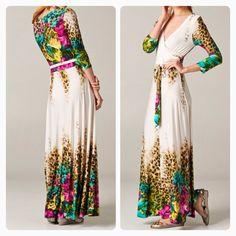 Tropical leopard maxi wrap dress Shannasthreads.com