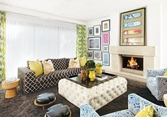 """The goal was to create something fun and family friendly that didn't shy away from the homeowners' favorite shades: deep oranges, purples and greens. """"She was really open to doing crazy things,"""" says Palazzo of her client. """"She has no fear of color."""""""