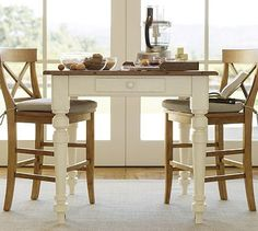 Keaton Square Fixed Counter Height Table   French White #potterybarn This  Would Be Cute With