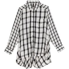 Melissa Mccarthy Seven7 Plus Plaid Long Sleeve Shirt ($79) ❤ liked on Polyvore featuring plus size women's fashion, plus size clothing, plus size tops, plus size, plus size white tops, long sleeve plaid shirt, white plaid shirt, women's plus size tops and womens plus tops