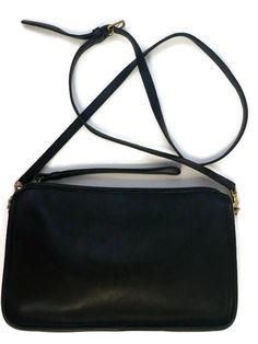 Vintage Coach Nyc Authentic 9455 Bonnie Cashin Crossbody Clutch Wristlet Black Leather Removable Strap Excellent Condition