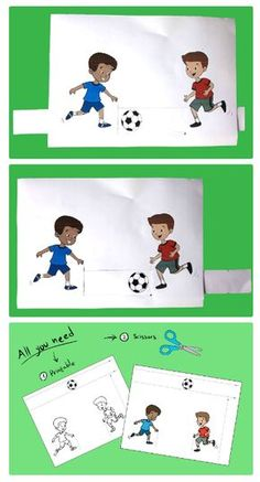 Kids Playing Soccer – Paper Activity