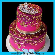 This is a nice cake idea as well for my Half-Birthday Indian Princess Birthday Cake - pink and purple gradient cake with gold piping, swarovski crystals, crystal banding, and rhinestone princess crown cake topper Pretty Cakes, Cute Cakes, Beautiful Cakes, Amazing Cakes, Princess Crown Cake, Princess Cakes, Princess Party, Sweet Sixteen, Princess Sweet 16