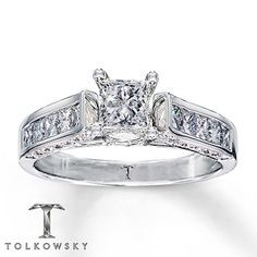 Diamond Engagement Ring 1 1/4 ct tw Princess-cut 14K White Gold (my ring brandon got me)! (: