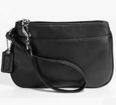 Coach Genuine Leather Small Wristlet Black 45651