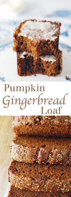 Pumpkin Gingerbread Loaf - A sweet and tender quick bread filled with pumpkin and gingerbread flavors. The crunchy sugar topping makes this the best pumpkin bread! Full recipe at theliveinkitchen.com @liveinkitchen