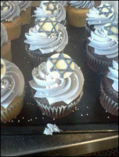 """Hannukah Cupcakes - from Aurora Anglesey of Rora Does Cake. Details from designer: """"All-natural colors and ingredients. It's much more difficult to make colors, shapes, fondant when using vegetable extracts as your sole color."""""""