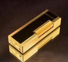 DUNHILL+ROLLAGAS+LIGHTER+~+18+K+GOLD+AND+BLACK+LACQUER+~+RARE+AND+BEAUTIFUL
