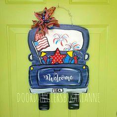 Truck Door Hanger -- Perfect for any Season or Holiday, Easter Decor, Spring Decor Painted Doors, Wooden Doors, Wooden Signs, Glass Storm Doors, Burlap Door Hangers, Truck Art, Custom Ribbon, Wood Cutouts, Custom Trucks