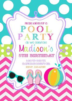 Wonderful Pool Party Birthday Party Invitations Printable Or Digital File Swimming  Party On Etsy, $9.50