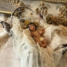 Baby Jesus Nativity Set Piece French Countey Cottage Jeanne d'arc living Christmas Decor