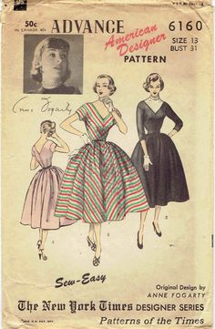 Easy 50s Dress Pattern: Advance 6160 American by MiAbDryGoods