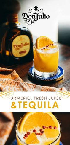 There's always a bright side to staying in after sunset. Reposado, fresh orange juice and turmeric are just three. To make, add pink peppercorns to a shaker & gently muddle. Don Julio Reposado Tequila, 3 oz. Cocktails, Party Drinks, Cocktail Drinks, Cocktail Recipes, Alcoholic Drinks, Beverages, Brunch Drinks, Tequila Sunrise, Turmeric Juice