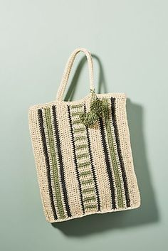 Diego Striped Straw Tote Bag