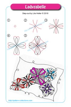 Flower Drawing Ladyzabelle by Lila Holter - Zentangle Drawings, Doodles Zentangles, Doodle Drawings, Flower Drawings, Drawing Flowers, Kawaii Drawings, Tangle Doodle, Tangle Art, Zen Doodle