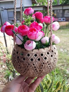 Handicrafts Coconut Shell Hanging Planter Pot for flower Orchid  Natural Color  #Unbranded