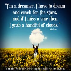 """I'm a #dreamer. I have to #dream and #reachforthestars, and if I miss a #star then I grab a handful of #clouds."" Mike Tyson #beadreamer #dreaming #goals #aspirations #quoteoftheday #qotd #instaquote #motivational #motivationmonday #inspiring #inspirational #inspiringquote #ConnieBoucher #SuperSimpleWellness #health #chakra #wellness"