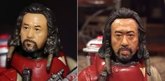 Baze Malbus Star Wars Rogue One Black Series 6 inch custom repaint action figure before and after