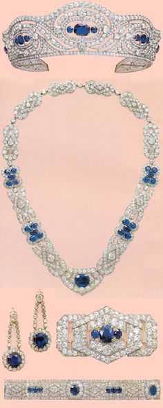 """Kind of Matchy-Matchy for my taste, but there are those occasions that do seem to require a """"set.""""  Alice Bourbon Parma's Chaumet  Saphire and Diamond parure (1935)"""