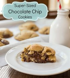 Super-Sized Chewy Chocolate Chip Cookies - i heart eating Best Cookie Recipes, Sweet Recipes, Snack Recipes, Dessert Recipes, Cooking Recipes, Snacks, Dessert Ideas, Brown Sugar Chocolate Chip Cookie Recipe, Chewy Chocolate Chip Cookies