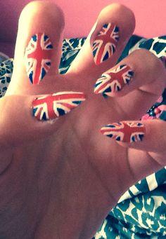 Union Jack painted nails