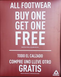 0318c9fa733 Reebok in store promotion Buy one get one free footwear! Up to 50% off