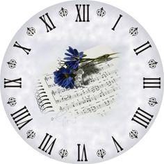 Blank Clock Faces, Clock Clipart, Clock Printable, Unusual Clocks, Kitchen Wall Clocks, Clock Art, Wooden Clock, Decoupage Paper, Flower Crafts