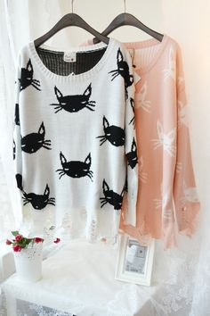 Fashion New Arrival Loose Cat Fashion Hole Sweater Viviwildfox Lean White Cat | eBay