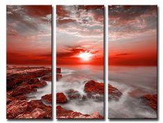Xl_60_43502942_R / Cuadro Acantilados y atardecer sobre el mar rojo 3 Piece Art, All Things Purple, Purple Stuff, My Favorite Color, My Dream Home, Wind Turbine, Landscape, Canvas, Photography