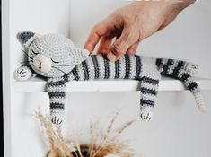 Easy Sleepy Cat Crochet Pattern. Sailor the Cat is an adorable striped guy that will cheer up any nursery, bedroom or living room! Using worsted yarn and simple crochet shapes, this cat works up in no time at all. This is an DOWNLOADABLE Crochet PATTERN toy (not the finished product) in PDF format,