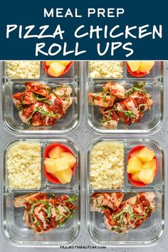 Pizza Chicken Roll Ups Meal Prep is a creative and lightened up meal prep option complete with cheese and pepperoni stuffed chicken thighs, Parmesan cauliflower rice, and a side of pineapple (for the pizza of course!). Chicken Roll Ups, Parmesan Cauliflower, Pizza Rolls, Meal Prep Containers, Prepped Lunches, Lunch Meal Prep, Stuffed Chicken, Baking Cups, Chicken Thighs