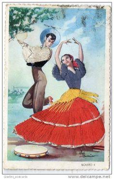 embroidered postcards antique elsi gumier   Spain: Spanish Dancers - Elsi Gumier - Bolero