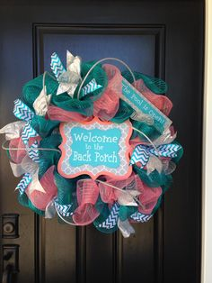 """Summer mesh wreath.. Blue mesh and coral mesh...blue chevron ribbon, silver sparkle ribbon, silver roping, """"Welcome to the back porch"""" """"pool is open"""" signs!"""