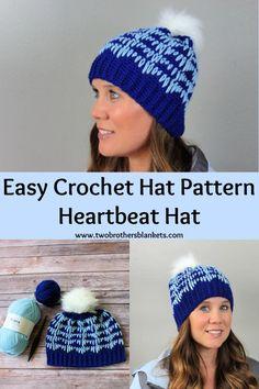 The Heartbeat Hat is an easy crochet hat pattern that is beginner friendly and great for any member of the family! #crochet #crochetpatterns #crochethats Easy Crochet Hat Patterns, Knit Patterns, Free Crochet, Crochet Hats, Diy Accessories, In A Heartbeat, Crochet Projects, Blankets, Winter Hats