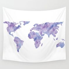 World Map Light Blue Purple Indigo Wall Hanging Tapestry by Mapmaker - Small: x