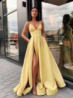 A Line Spaghetti Straps V Neck Yellow Prom Dresses with Pockets High Slit Satin . - - A Line Spaghetti Straps V Neck Yellow Prom Dresses with Pockets High Slit Satin Formal Dress Source by newtoptrends Prom Dresses With Pockets, Pretty Prom Dresses, Hoco Dresses, Elegant Dresses, Homecoming Dresses, Matric Dance Dresses, Prom Dreses, Sexy Dresses, Dresses For Graduation