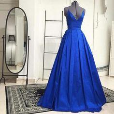Blue Prom Dress Deep V Neckline Evening Party Dress pst0665