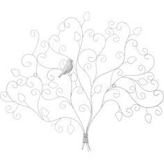 Porte-photos design forme arbre en métal - 65 x 56 cm - Blanc