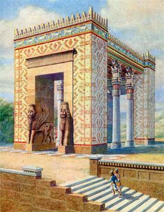 A restitution of what the Propylaea of Xerxes, Persepolis (𐎯𐎢𐎺𐎼𐎰𐎡𐎶 𐏐 𐎻𐎡𐎿𐎭𐏃𐎹𐎢𐎶) may have looked like in around 465 BCE by Charles Chipiez Persian Architecture, Historical Architecture, Ancient Architecture, Ancient Persian, Ancient Art, Ancient History, Ancient Near East, In Ancient Times, Ancient Mesopotamia