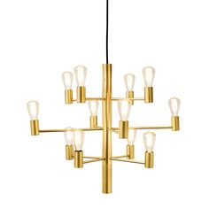 The grand Manola chandelier from the Danish brand Herstal is made of shiny metal with a modern but yet timeless design. The chandelier is equipped with twelve LED-lamps that spreads a warm light and is available in different colors. Hang the lamp in the l Dining Lighting, Living Room Lighting, Bedroom Lighting, Ceiling Lamp, Ceiling Lights, Brass Chandelier, Dark Walls, Lampe Led, Messing