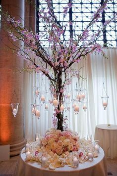 I love the plant as a centerpiece, only not so big and no hanging ornaments or the bottom fluff.