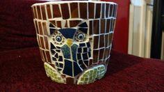 Macetero búho mosaico