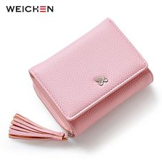 WEICHEN Tassels Zipper Hasp Women Wallet For Coin Card Cash Invoice Fashion  Lady Small Purse Short Solid b353d0327dc93