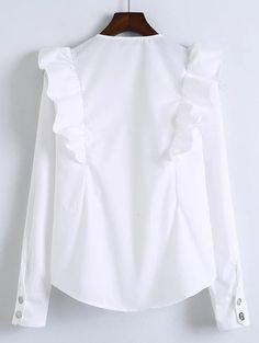 Shop White V Neck Ruffle Trim Buttoned Cuff Blouse online. SheIn offers White V Neck Ruffle Trim Buttoned Cuff Blouse & more to fit your fashionable needs. Boho Fashion, Fashion Outfits, Bolero, Blouse Dress, Collar Blouse, Ruffle Blouse, White V Necks, Two Piece Outfit, White Shirts